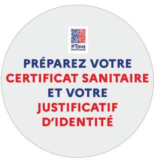 Autocollant Préparez votre certificat sanitaire et votre justificatif d'identité