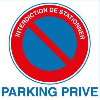 Panneau alu interdiction de stationner parking privé