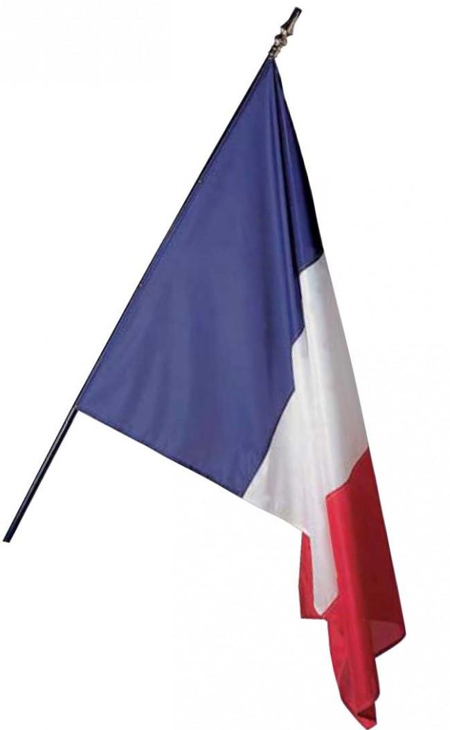 Drapeau de France monté sur hampe en vente chez Promociel