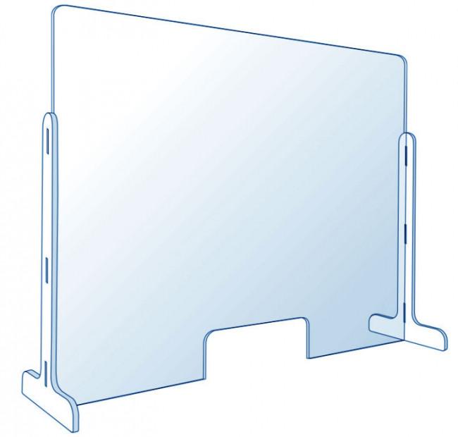 Vitre de protection en plexiglas pour comptoir 75 x 50 cm en vente chez Promociel