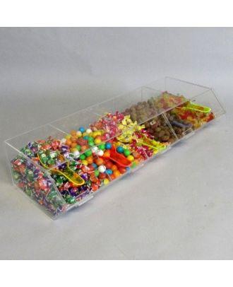 Présentoir alimentaire plexiglas 5 compartiments avec bonbons