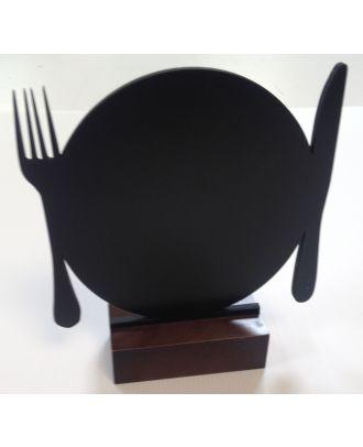 Ardoise de table Assiette et Couverts de face