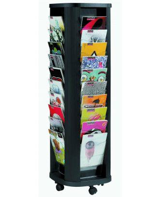 Porte brochure A4 sur pied ROTABLACK40 - achat de présentoirs A4 sur pied : P&P
