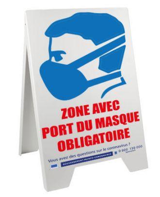 Chevalet 100 x 55 cm de sol port du masque obligatoire