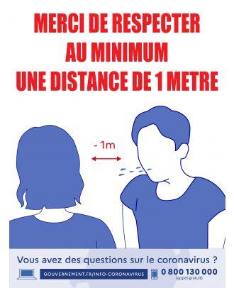 """Autocollant """"Merci de respecter une distance minimum de 1 m"""" 30 x 40 cm"""