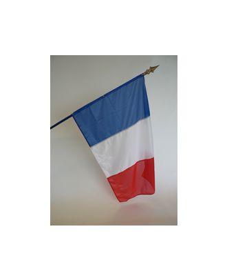 Montage de drapeau format 80 x 120 cm sur hampe en bois gainée bleu avec embout lance dorée