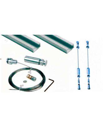 Kit de fixation câble sol/plafond pour affichage suspendu sur rail