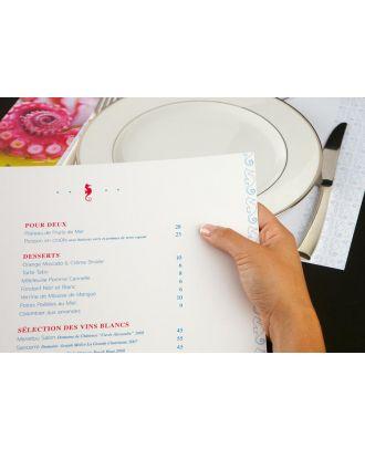 Menu restaurant personnalisé A4 les 200 ex