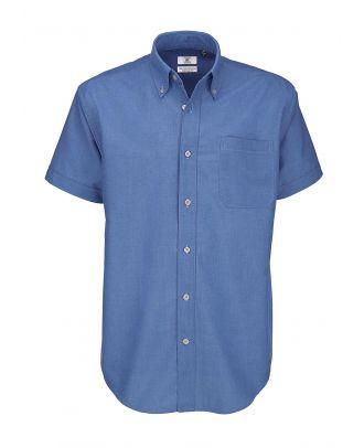 Chemise manches courtes Homme B&C Oxford bleue
