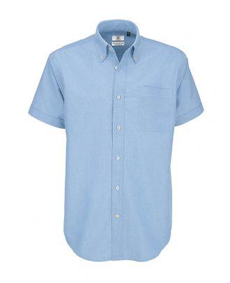 Chemise manches courtes Homme B&C Oxford bleu clair