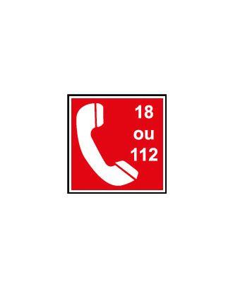 Panneau PVC d'incendie téléphone 18 ou 112