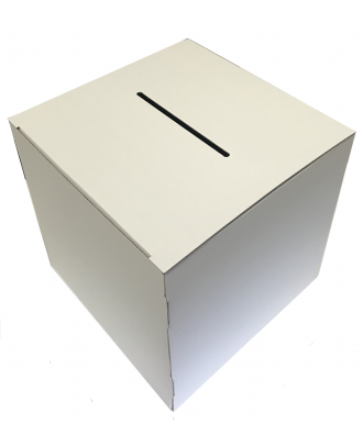 Urne 30 x 30 x 30 cm en carton blanc de travers