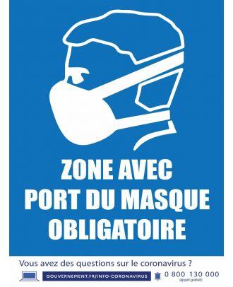 Autocollant zone avec port du masque obligatoire 30 x 40 cm
